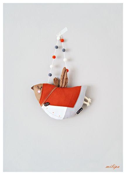 Mrs. TWEET, bird, bird pillow from milipa by DaWanda.com