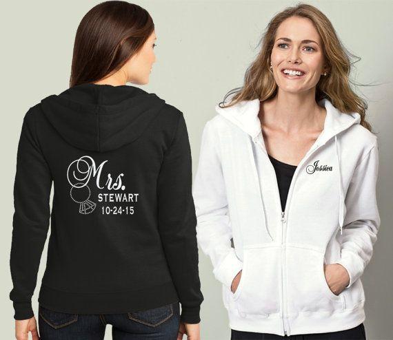 Bride Sweatshirt, Anniversary Custom Sweatshirt, Est. Date, Bride Hoodie, Future Mrs, Full zip hoodie, Soon To Be Mrs, Rhinestones Ring