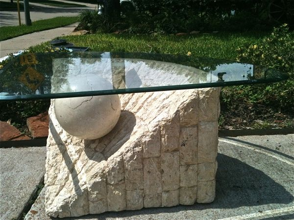 Houston Modern Stone And Glass Coffee Table Triangle