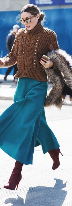 Who made Olivia Palermo's brown turtleneck sweater, sunglasses, scarf, blue…