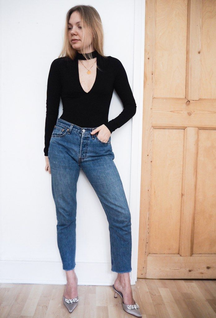 Favorite everyday outfit, wearing top from Tobi, vintage Levis 502 jeans and kittenheels from Manolo Blahnik. Tobi- A classic top with a detail http://gabriellalundgren.com/tobi-a-classic-top-with-a-detail