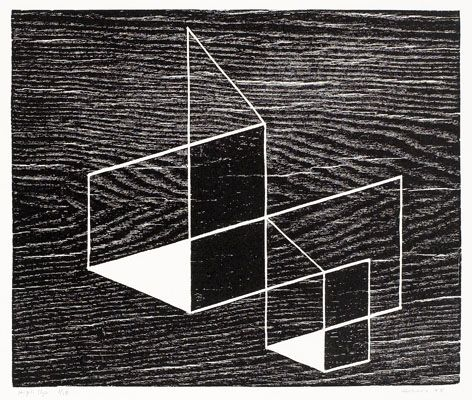 Josef Albers, High Up, 1948  Woodcut. JAAF: 1976.4.124  27.94 x 39.37 cm (11 x 15.5 inches)  ©2007 The Josef and Anni Albers Foundation / Artists Rights Society (ARS), New York    Photo: The Josef & Anni Albers Foundation