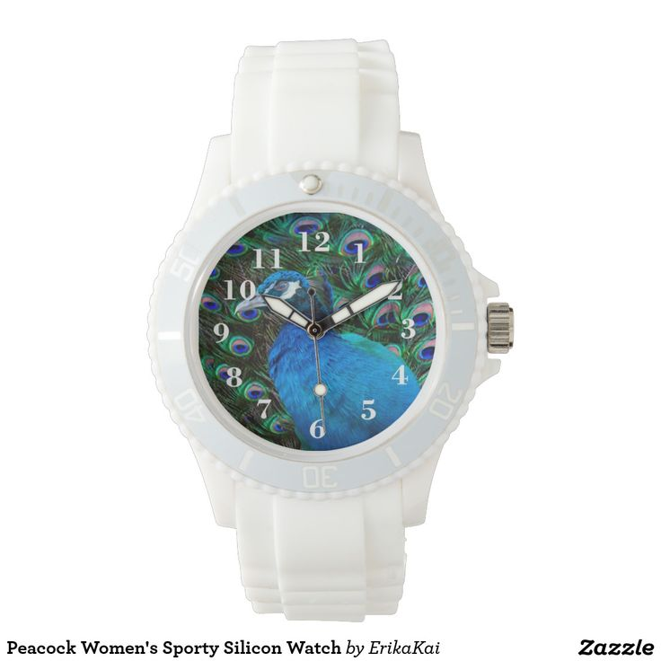 Blue Peacock Women's Sporty Silicon Watch, white or pink.