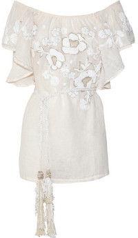 ShopStyle: Emamó Robe de plage en voile de lin mélangé Camelia