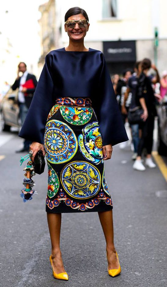 Trending Street Style at Spring Summer 2015 MFW Fashion Week: High-waisted Skirt.