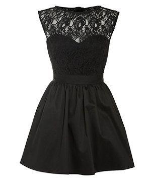 Elise Ryan Black Taffeta Lace Top Prom Dress