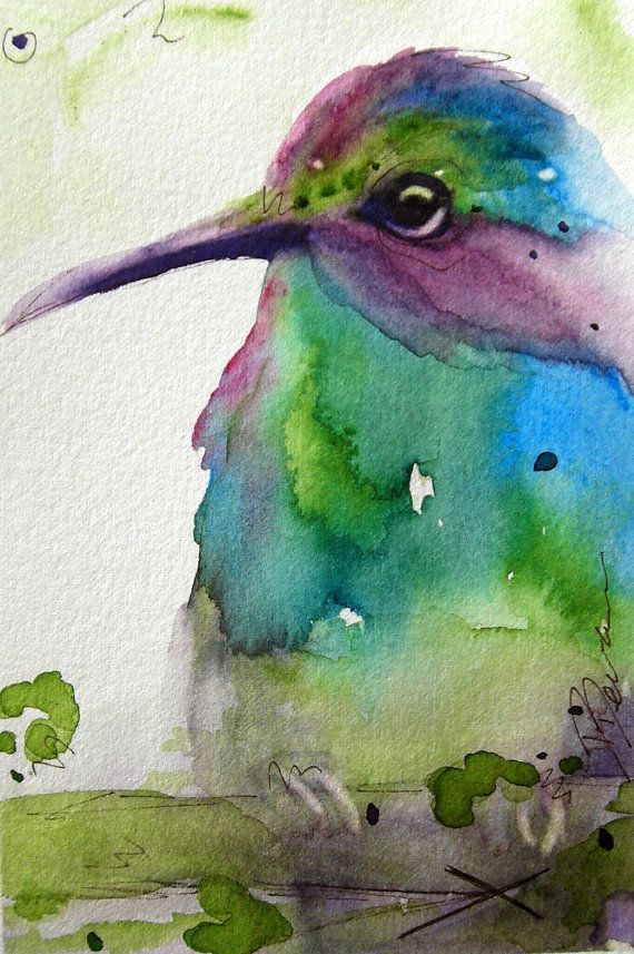 Original Watercolor Painting of Hummingbird Art Hidden is a charming little painting and would make a wonderful, affordable gift of original art