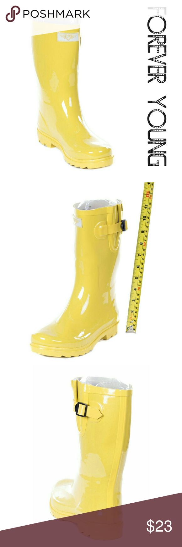"""Women Mid Calf Rainboots,  #1602, Yellow Fixed price! Brand new yellow jacket woman rainboots by Forever Young. 100% rubber rain boots!!! Cotton lining, removable sole. Approx. 11"""" tall, rainboot leg circumference approx. 15"""". Rain boot runs half a size larger than your regular shoes. They are taller than galoshes and protect your feet better while you garden or just walk in the fall or winter rain. Not made for wide calves. A true staple in ladies shoes fashion! Forever Young  Shoes Winter…"""