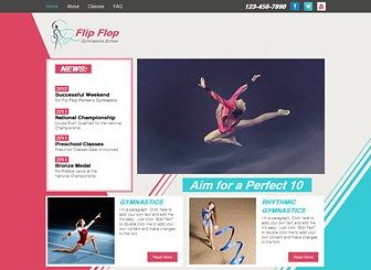 Gymnastics School Template - Spring to success with this energetic gymnastics website template! With sharp graphics and bold colors, this is a perfect template for anyone wishing to make a cutting edge website and sell their gymnastic school or other exercise classes. Click edit to start customizing images and text and create a businesses that vaults to success.