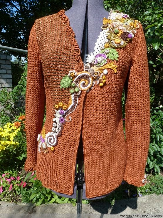 freeform crochet appliqued top