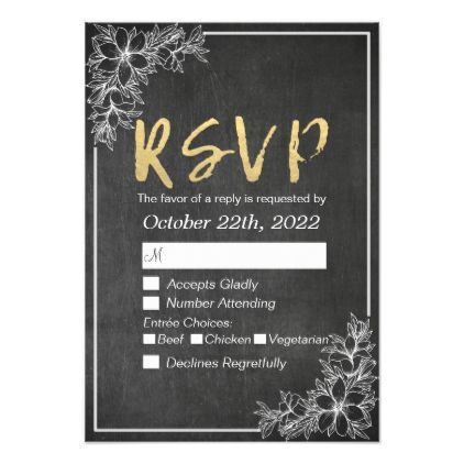 #Gold Script Chalkboard Floral Wedding RSVP Reply Card - #weddinginvitations #wedding #invitations #party #card #cards #invitation #modern