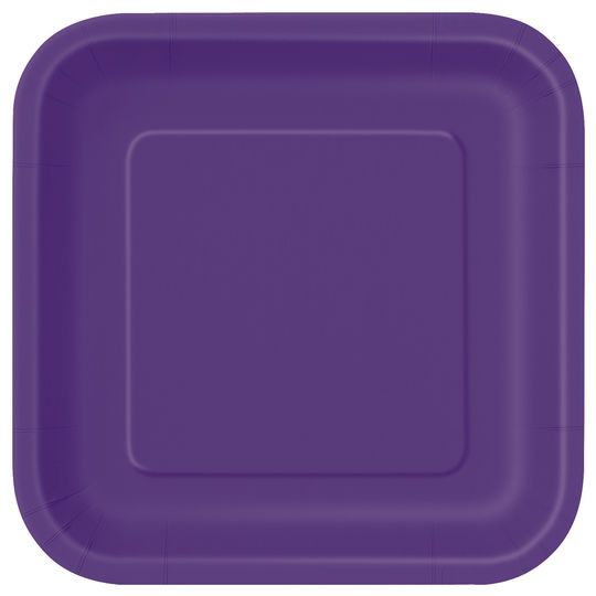 "9"" Square Dark Purple Dinner Plates, 14ct"