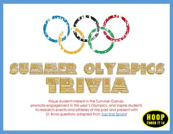 This Free Resource Contains Summer Olympics Trivia Questions Adapted From Top End Sports Www Topendsports Com Events Olympics Htm