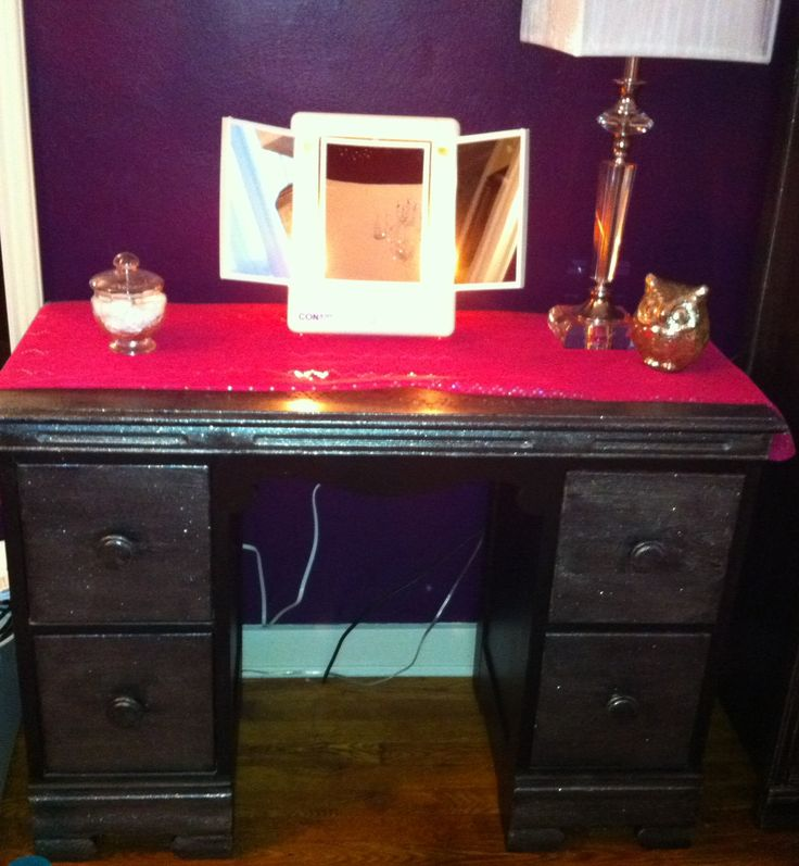Dull Desk to Sparkly Vanity