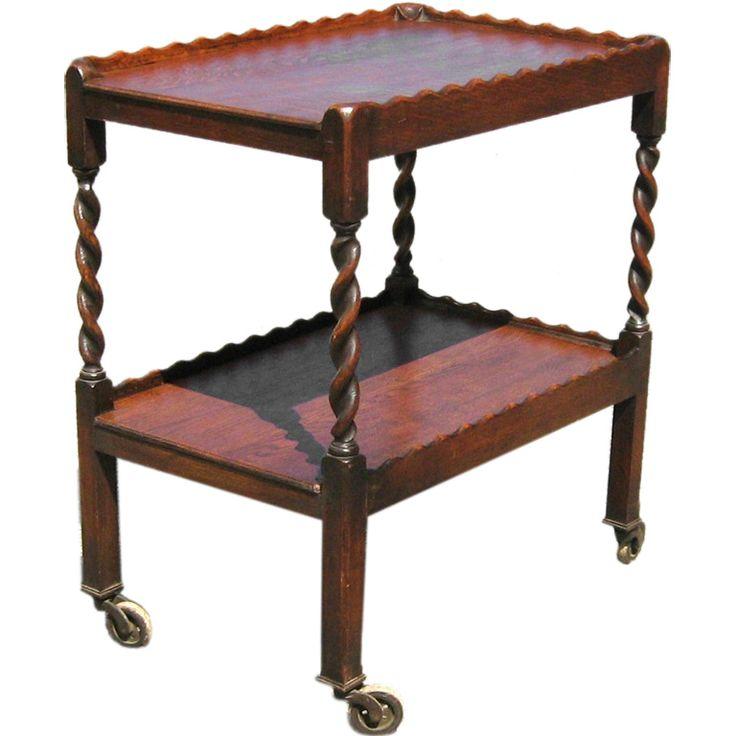 Oak Tea Trolley With Barley Twist Legs Tea Trolley Furniture And Twists