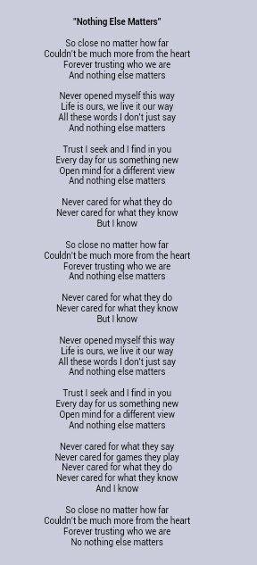Metallica _ Nothing Else Matters Lyrics