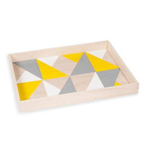 Plateau en bois jaune/gris 30 x 40 cm TRIANGLE YELLOW