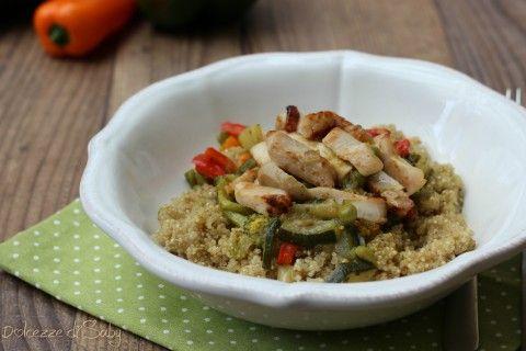 Quinoa con verdure e pollo grigliato
