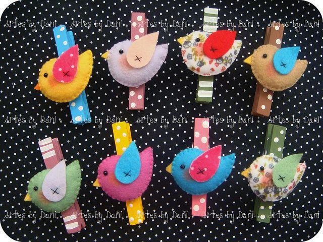 Todos os tamanhos | Prendedores decorados passarinhos, via Flickr.