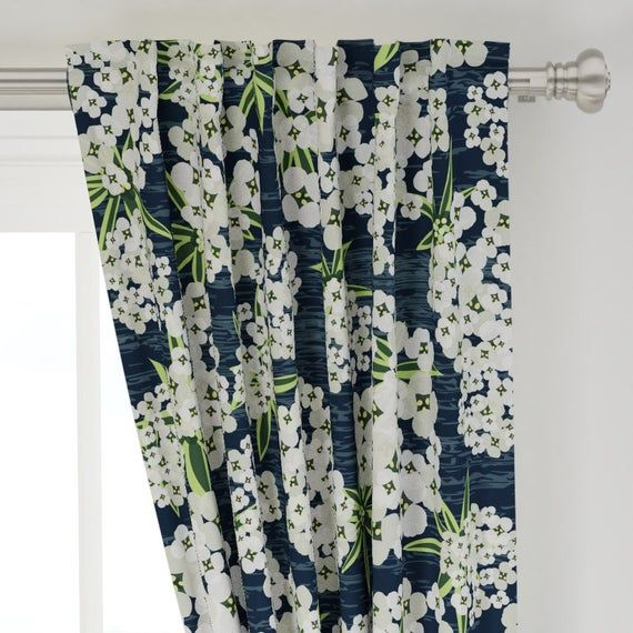Modern Floral Curtain Panel Alyssum Jumbo Navy By Etsy Floral