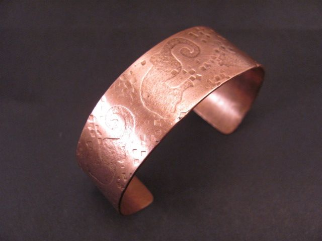 Sea Horse pattern copper cuff crafted by Shane Kendrick