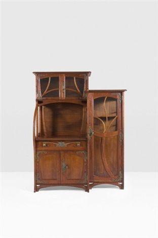 Haut meuble de rangement vitré by Gustave Serrurier-Bovy