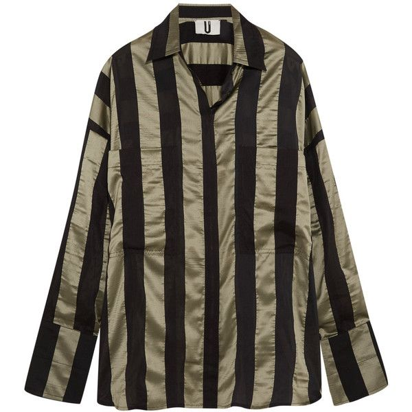 Topshop Unique Duvall oversized striped satin shirt (523.710 COP) ❤ liked on Polyvore featuring tops, army green, slouchy shirts, striped top, olive green shirt, stripe top and olive shirt