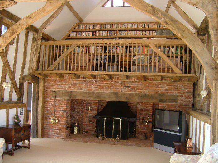 Barn fireplace/library design