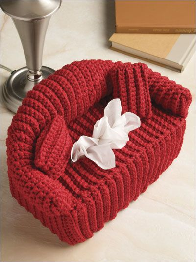Crochet couch tissue holder, so cute