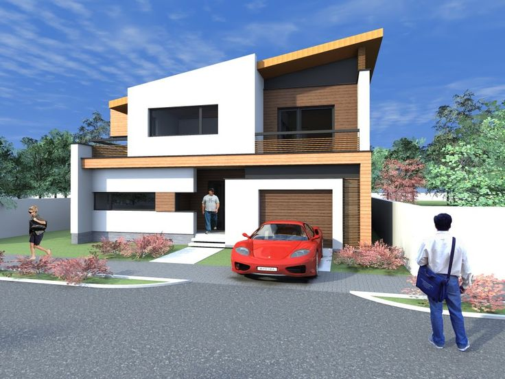House design for narrow lot. Archicad + Artlantis