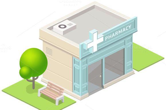 Isometric pharmacy building and tree by Azaze11o on Creative Market