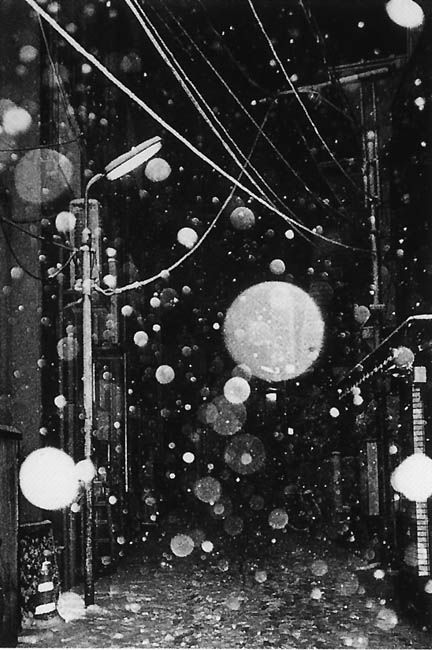 Daido Moriyama. the photograph has been taken in time during the rain. it is photo of a street. the light has thrown from the front. i like the composition of picture.