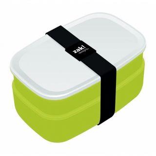 Lunch box plastikowy ze sztućcami ZAK ZIELONY 18 x 11 cm