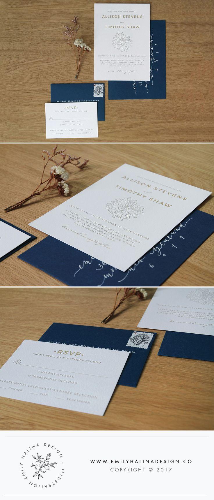 Minimal letterpress wedding invitation design // navy, white and gold illustrated // by Emily Halina Stevens © 2017