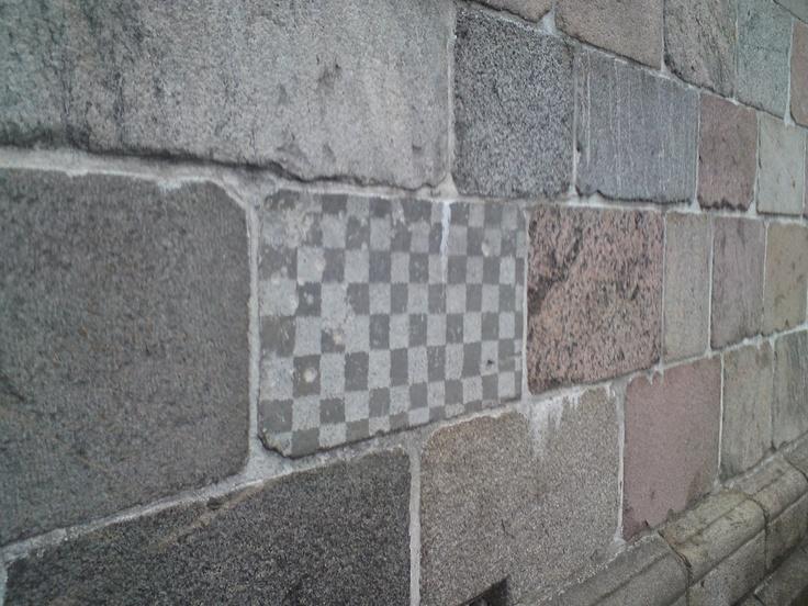 Chessboard Ashlar Stone on the south side of Grinderslev Church (Breum)
