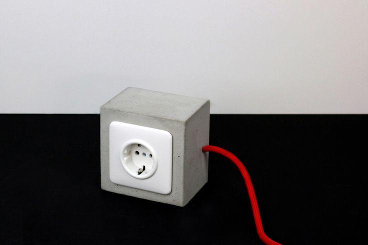Concrete socket | Vintage Style socket | Industrial socket of concrete | concrete doorstop gray by alexejnagel on Etsy https://www.etsy.com/listing/215371600/concrete-socket-vintage-style-socket