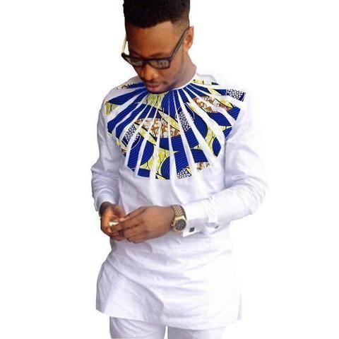 African Shirts For Men Dashiki Shirts Kitenge Shirt White-Men African Shirt-Online-3-S-Online Shopping-LeStyleParfait.Com