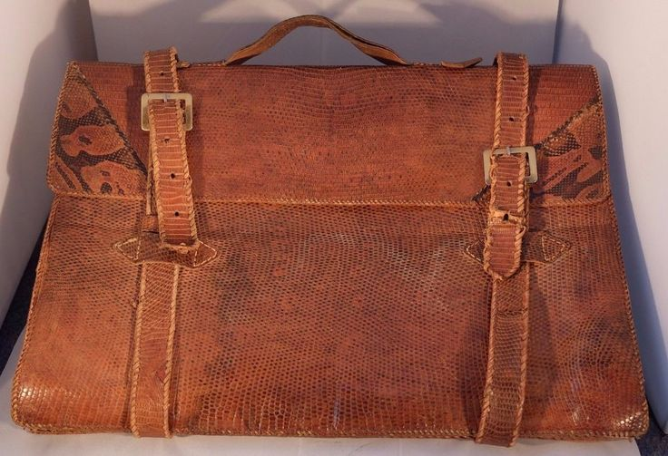 Vintage Leather BROWN Briefcase Portfolio Tablet - iPad - laptop carrier #Unbranded #BriefcaseAttach
