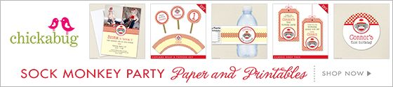 Sock Monkey theme party paper goods & printables from Chickabug
