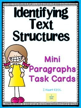 Identifying Text Structures This product contains 18 paragraphs for students to determine which text structure is being used. The following text structures are included:  Cause and EffectCompare and Contrast Sequence/Chronological Order Problem and Solution Description  A graphic organizer is also included with definitions of each text structure and signal words.