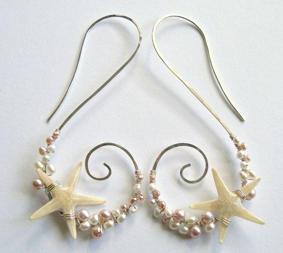 Real Starfish Earrings Beach Hoops Pink Pearl by BellaAnelaJewelry, $49.00