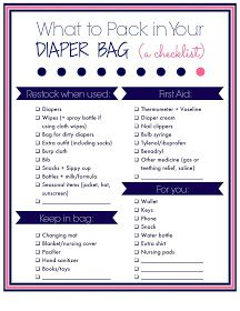 Laura's Plans: What to pack in you diaper bag: A free printable checklist