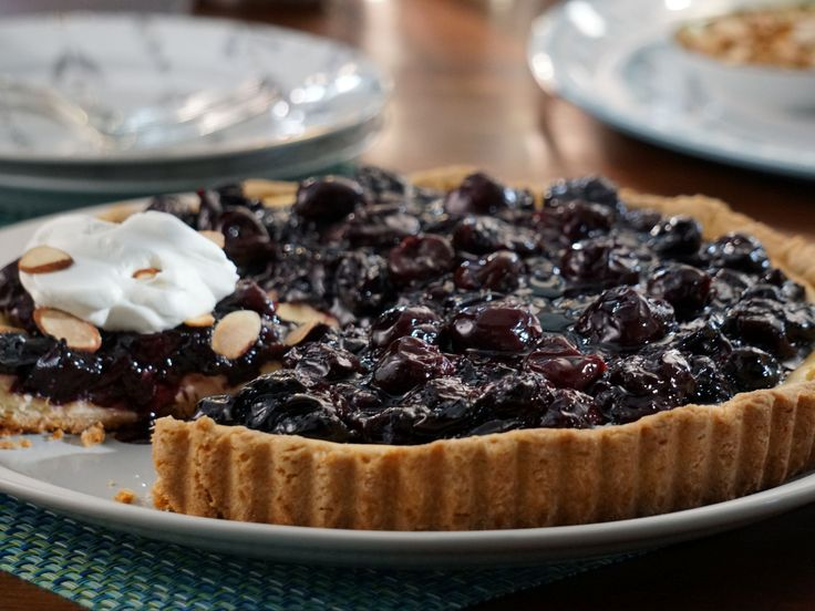 Cherry Cheesecake Pizza Pie recipe from Valerie's Home Cooking via Food Network