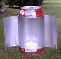A Do-It-Yourself survival lamp out of a soda can! Cut it, pull it back, and insert your candle.  And presto! #Camping #Outdoors #DIY