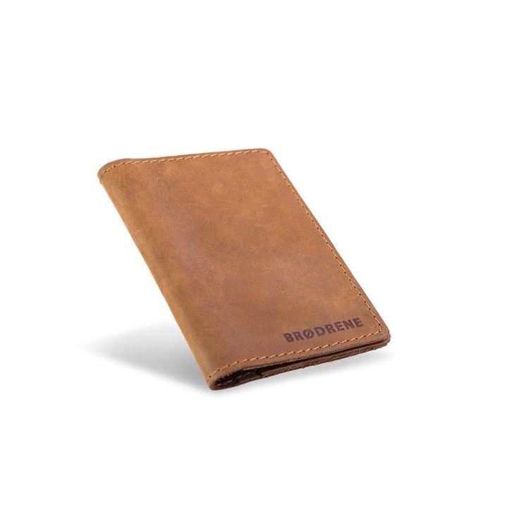 Skórzany cienki portfel slim wallet brodrene jasny brąz