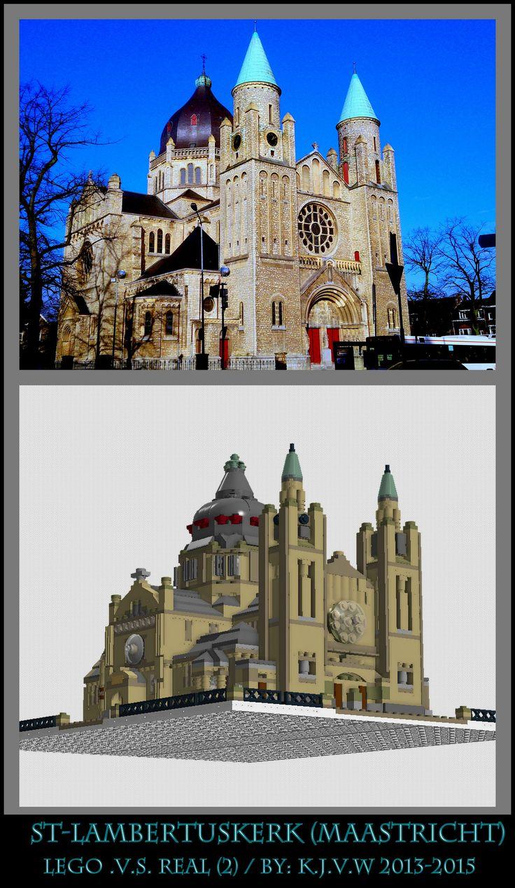 [ st-lambertuskerk  lego .v.s. real part 2 ]  2 of the 19 photo's from my collage of St-Lambertuskerk (Maastricht) ((Non-lego))