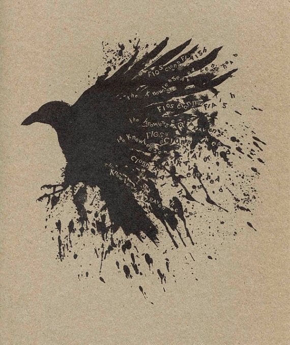 Knowledge of The Raven Art Print As Gaeilge in Irish Fios by Modru