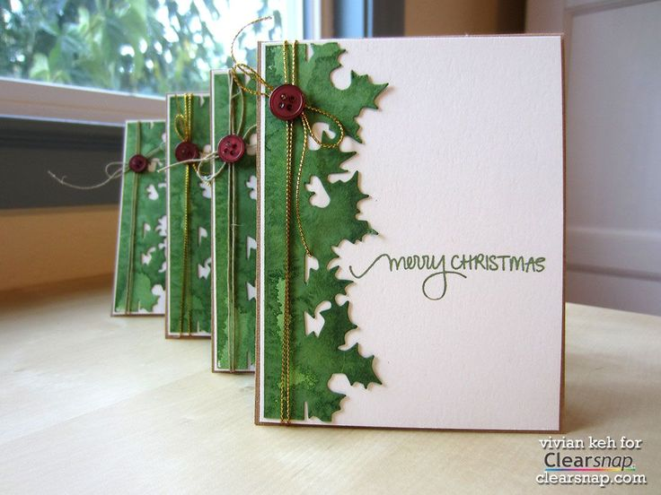 "There's a video to demonstrate the unique ""dousing technique"" used on the holly leaves on this handmade Christmas card.  It would look just as lovely as a solid color, using the Sizzix Bough of Holly die cut."