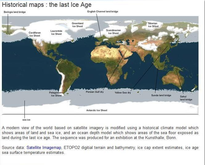 Map of Global Ice Coverage in the Last Ice Age  Canada  La