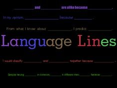 LANGUAGE LINES (ELL SUPPORT)  With the help of some outstanding teachers, The Positive Engagement Project has compiled six different sets of Language Line sentence frames that can be used to help give students a framework to express six essential comprehension skills: cause and effect, classifying, comparison and contrast, evaluating, predicting, and summarizing.
